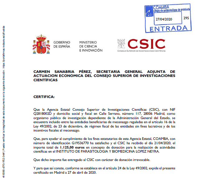 Certificado CSIC imagen